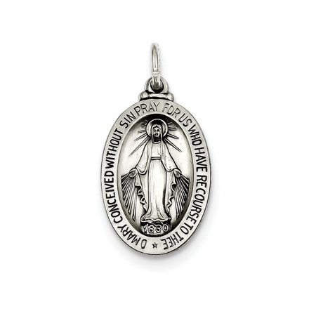 Sterling Silver Antiqued Miraculous Medal Pendant Necklace Chain Included