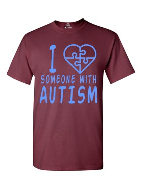 Product Image Shop4Ever Men s I Love Someone With Autism Blue Autism  Awareness Graphic T-shirt 4f301036c27
