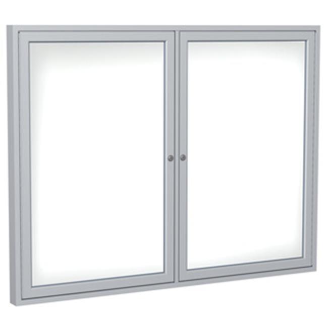 Ghent Manufacturing PN24860M-M1 48 x 60 in. 2-Door Wood Frame Walnut Enclosed Porcelain Magnetic Whiteboard