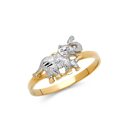 Elephant Ring Solid 14k Yellow White Gold Good Luck Charm Band Polished Finish Two Tone (Good Luck Money Ring)