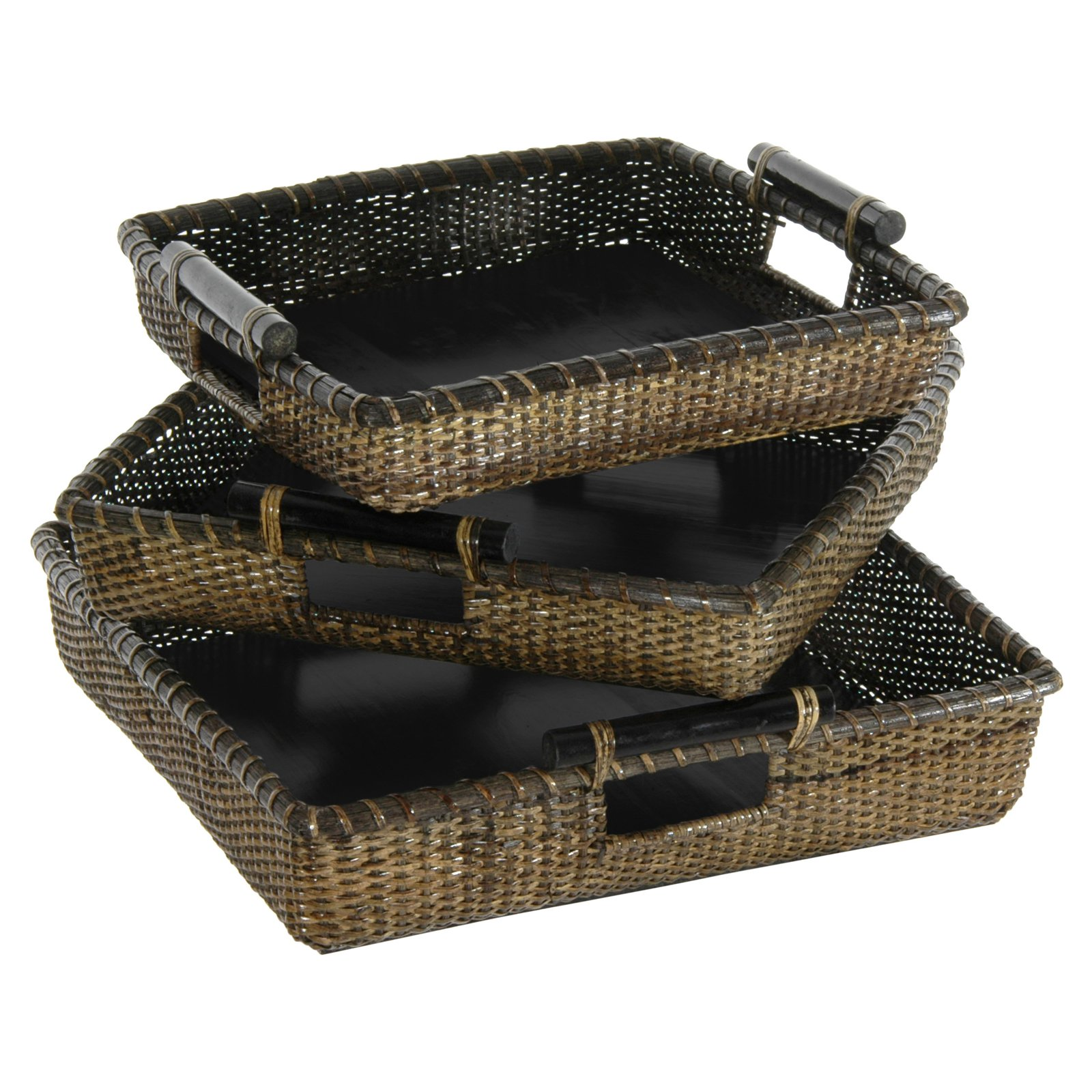 Oriental Furniture Rattan Square Tote with Pole Handle - Set of 3