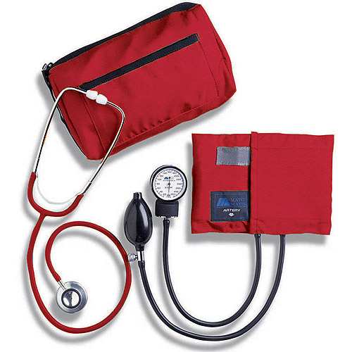 MABIS MatchMates Aneroid Sphygmomanometer and Dual Head Stethoscope Combination Home Blood Pressure Kit with Calibrated Nylon Cuff, Red