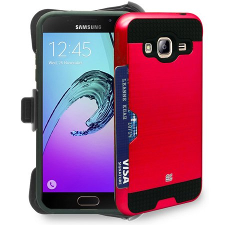 Red Credit Card Slot Case   Belt Clip Holster For Samsung Galaxy Express Prime