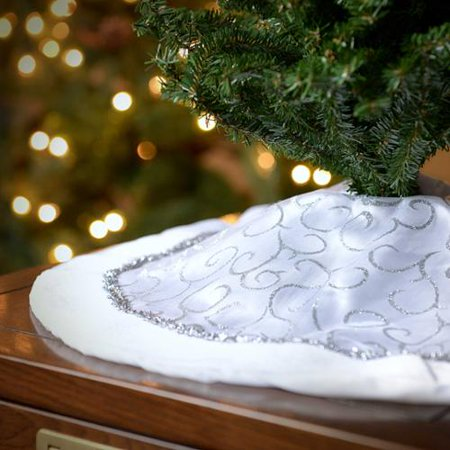Seasons Designs 20 inch Mini Christmas Tree Skirt in White with Silver  Glitter Design - Seasons Designs 20 Inch Mini Christmas Tree Skirt In White With