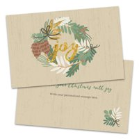 Personalized Joy Wreath Folded Christmas Card