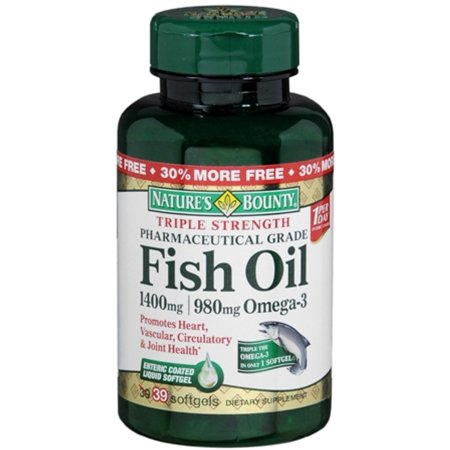Nature's Bounty Fish Oil 1360 mg Softgels Triple Strength 39 Soft Gels (Pack of 2) ()