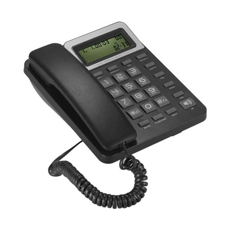 Desktop Corded Landline Phone Fixed Telephone with LCD Display Mute/ Pause/ Hold/ Flash/ Redial/ Hands Free/ Calculator Functions for Home Hotel Office Bank Call