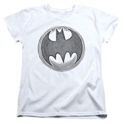 Batman-Knight Knockout - Short Sleeve Womens Tee - White, Large