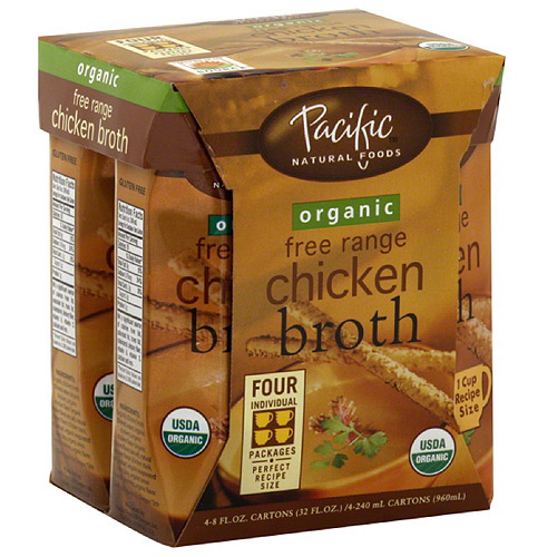 Pacific Natural Foods Organic Free Range Chicken Broth, 32 fl oz, (Pack of 6)