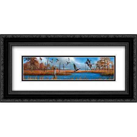 Geese 2x Matted 24x12 Black Ornate Framed Art Print By