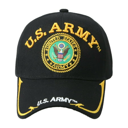 Army Baseball Cap Hat - US ARMY Military Hat Veteran Baseball cap Adjustable Officially License (7mc004_US Army Gold Line)