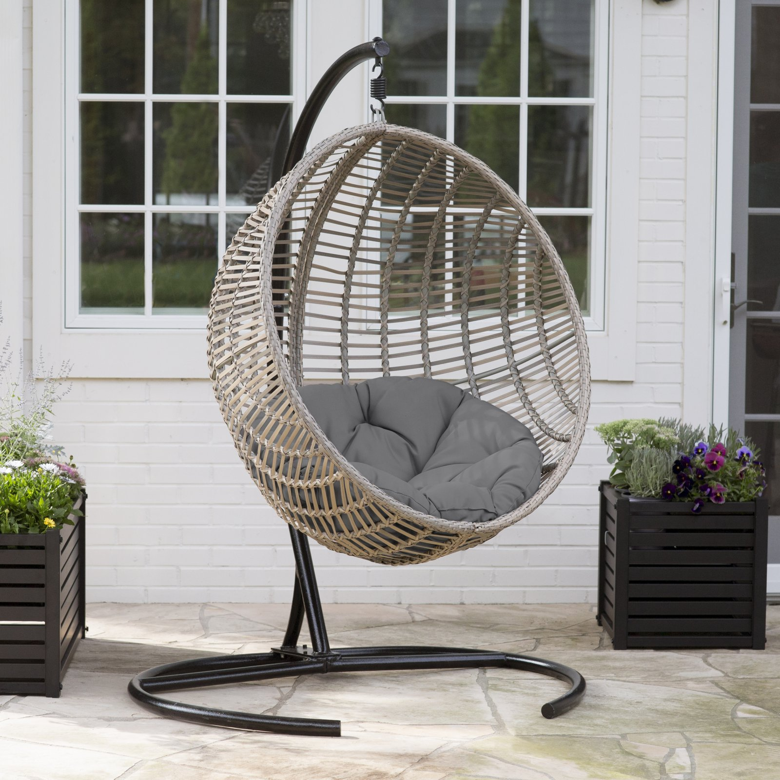 Belham Living Resin Wicker Kambree Rib Hanging Egg Chair with Cushion and Stand