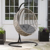 02de1e80f Product Image Belham Living Resin Wicker Kambree Rib Hanging Egg Chair with  Cushion and Stand