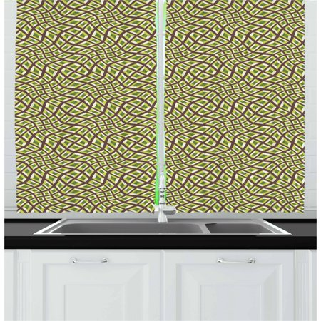 Designer Inspired Olive (Abstract Curtains 2 Panels Set, Lines and Squares Design Pale Colors Ornate Surrealism Inspired, Window Drapes for Living Room Bedroom, 55W X 39L Inches, Chocolate Yellow Green Olive, by Ambesonne)