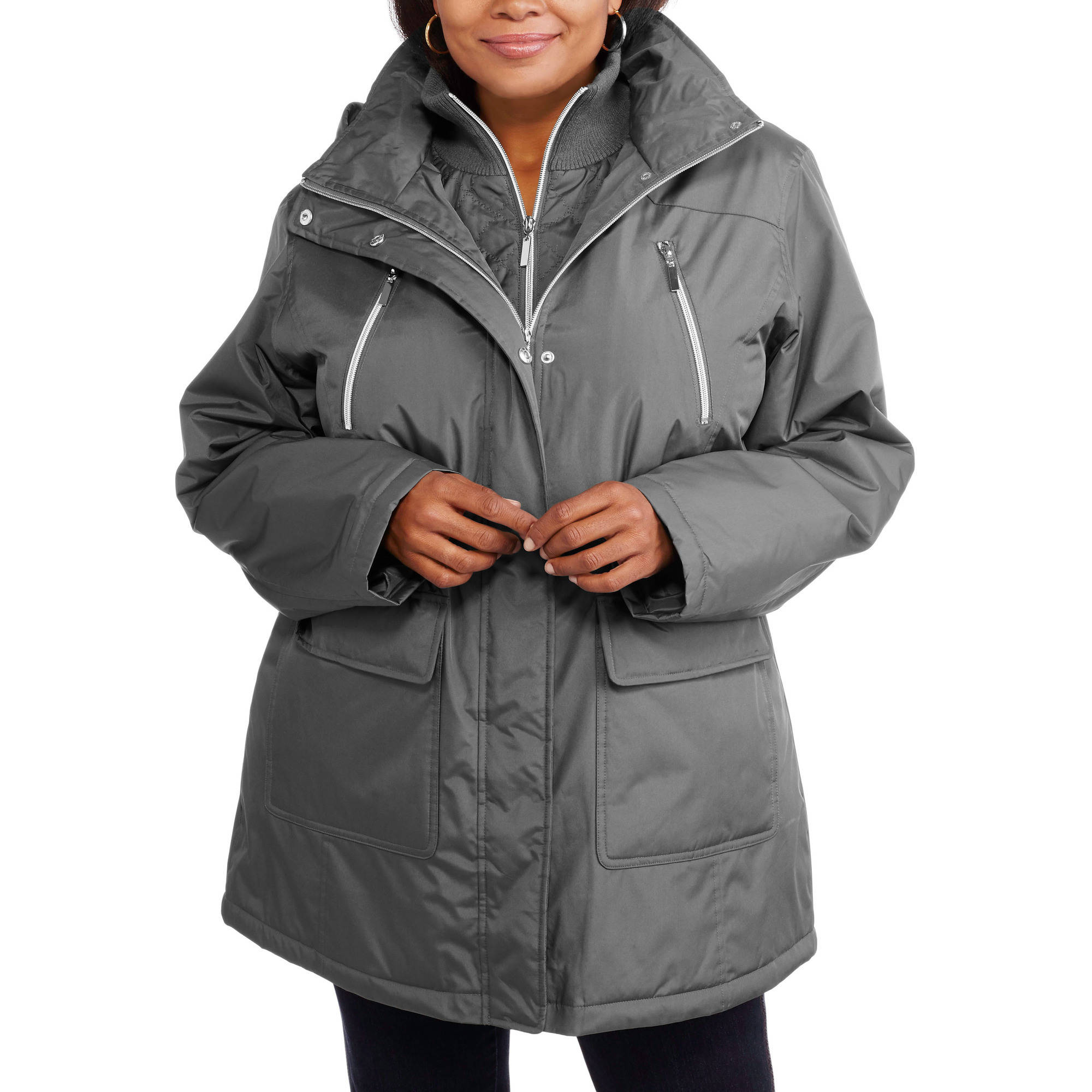 Women's Plus-Size Midweight Anorak with Cozy Ribbed Collar