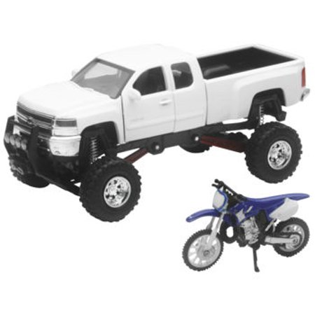 New Ray Toys 1:32 Scale Truck And Dirt Bike Set Die-Cast Replica White Chevy with YZ125 SS-54416 1953 Chevy Truck Parts