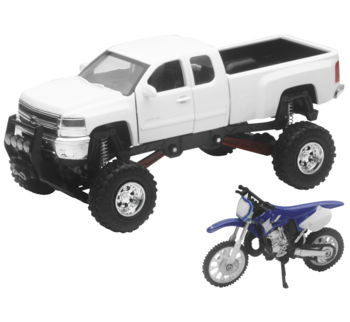 New Ray Toys 1:32 Scale Truck And Dirt Bike Set Die-Cast Replica White Chevy with YZ125 SS-54416