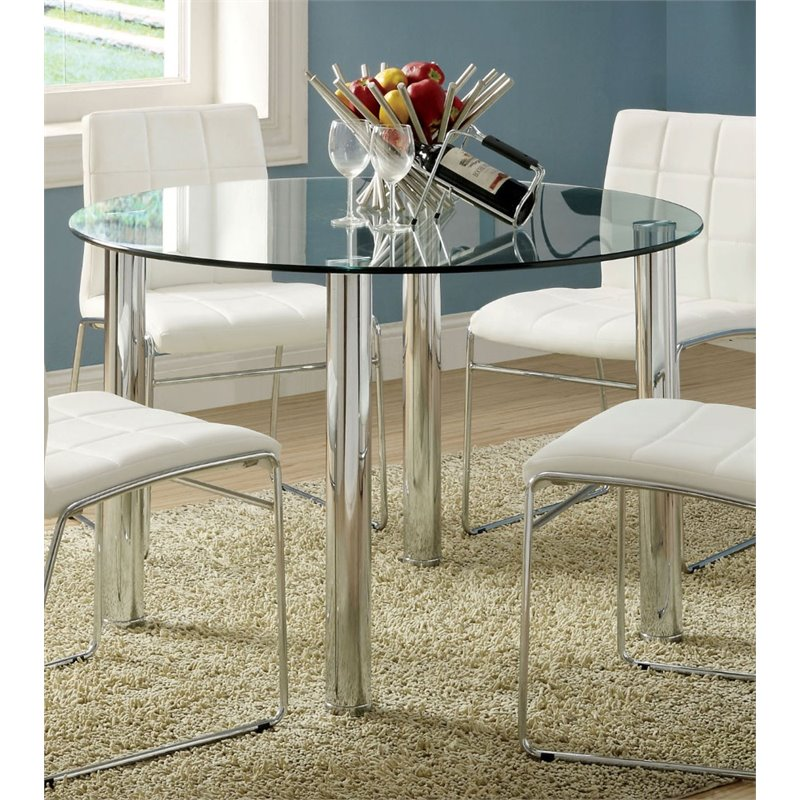 Furniture of America Poipen Round Glass Top Dining Table in Chrome