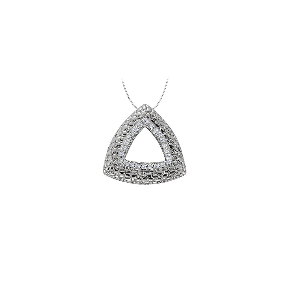 Diamond Triangle Shaped Fashion Pendant in 14K White Gold 0.25 CT TDWJewelry Gift for Women - image 2 of 2
