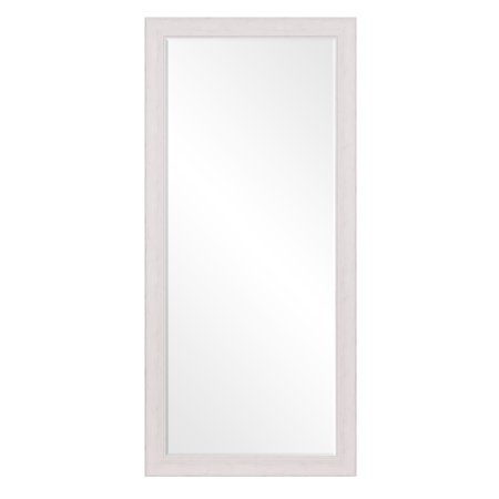 "Beveled Leaner Mirror in Classic White Washed Wood Frame 26""x60"" by Patton Wall Decor"