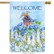 "Patriotic Birdhouse Summer House Flag Bluebirds Flowers Welcome 28""x40"""