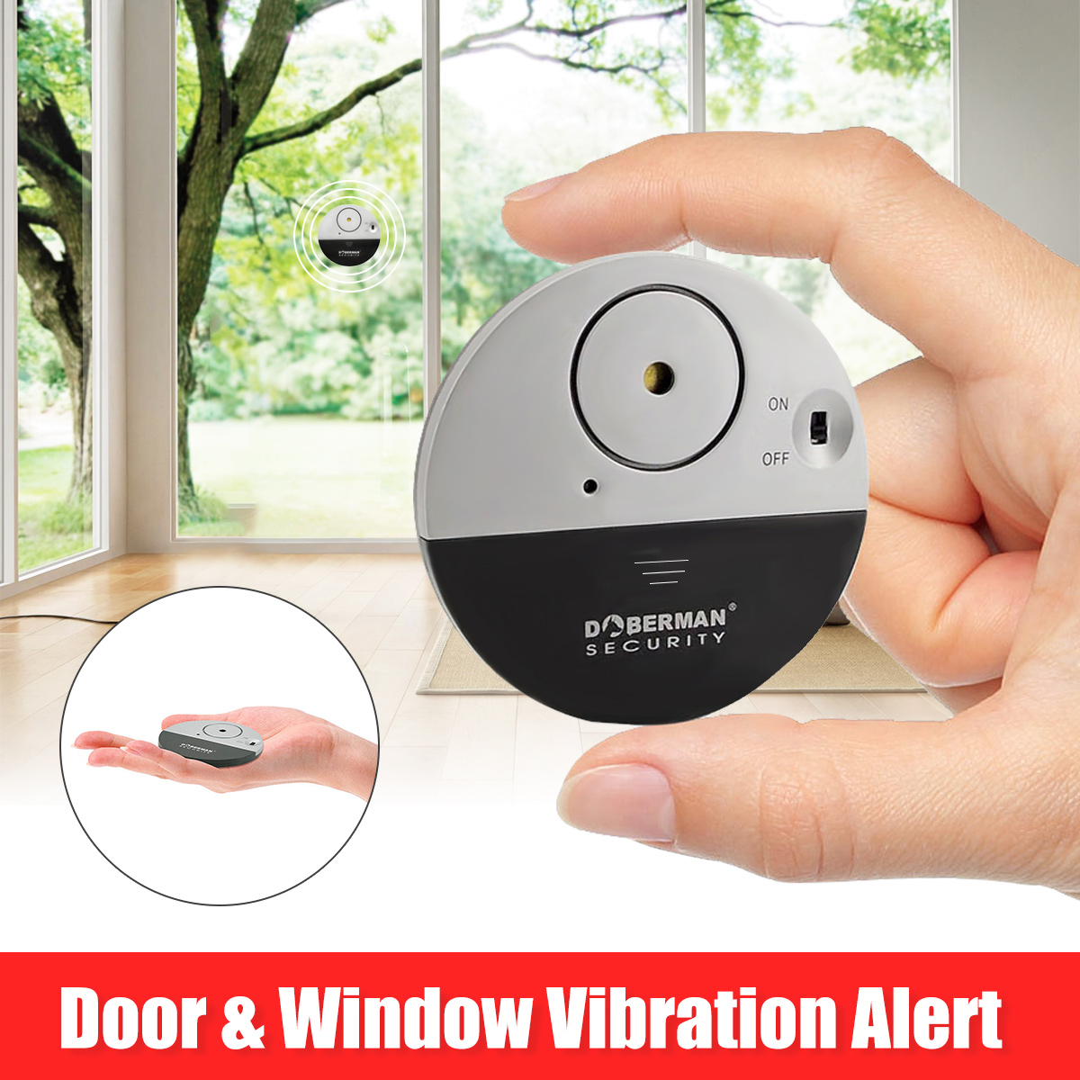 Grtsunsea DOBERMAN SECURITY Home Office Security Super-Slim Wireless Door Window Vibration Burglar Alarm Alert Sensor