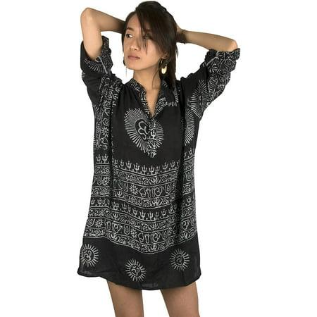 430c0f8fa7c1 Tribe Azure - Women Om Oversize Shirt Dress Summer Beach Boho Cotton Casual  Top Tunic Hippie Black - Walmart.com