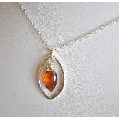 AEB Designs Sterling Silver Hessonite Leaf Necklace
