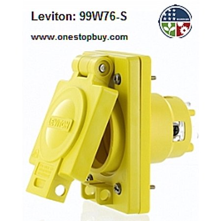 480v 3 Phase Power Switch - Leviton 99W76-S Single Outlet w/Cover Locking Blade Wetguard 30A 480V 3-Phase 3P4W Grounding - Yellow