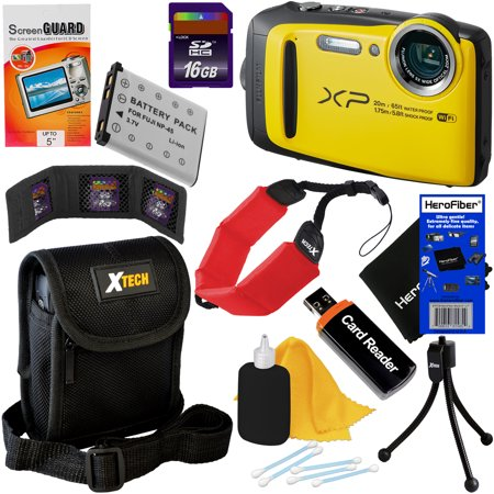 Finepix Z33wp Accessory Kit (Fujifilm FinePix XP120 16.4 MP Waterproof & Shockproof Digital Camera with built-in Wi-Fi & 5x Optical Zoom (Yellow) + NP-45 Battery + 9pc 16GB Accessory Kit w/ HeroFiber Cleaning)