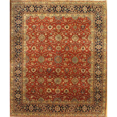 Pasargad Ny Indo Tabriz Hand Knotted Wool Red Gold Area Rug