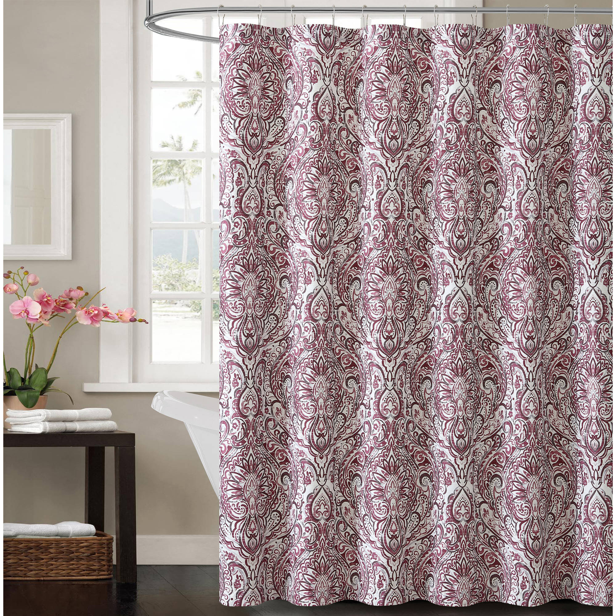 VCNY Home Plum Elanza Damask 72x72 Shower Curtain Walmartcom