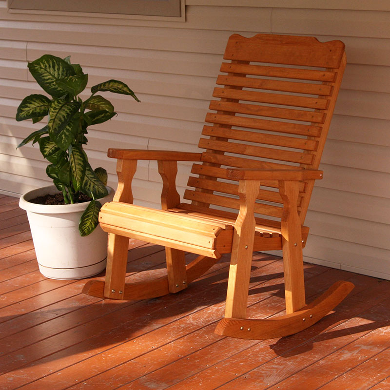 Amish Heavy Duty 600 Lb Classic Pressure Treated Rocking Chair (Cedar Stain)
