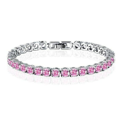 ON SALE - Luxury Pink Swiss CZ Tennis Bracelet 17 / Pink ()
