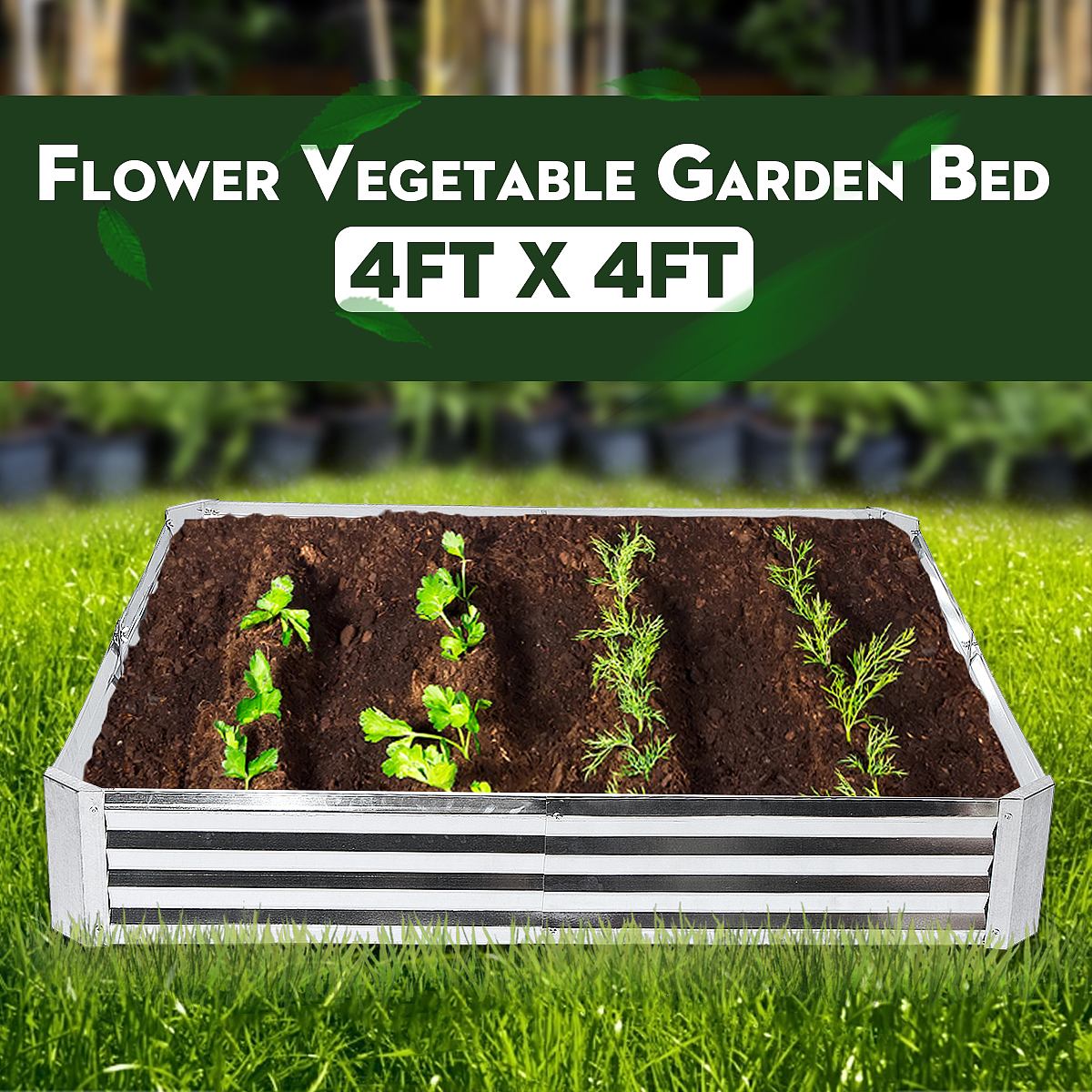 4ft Folding Raised Metal Garden Bed Vegetables Galvanised Plant Flower Pot Walmart Canada