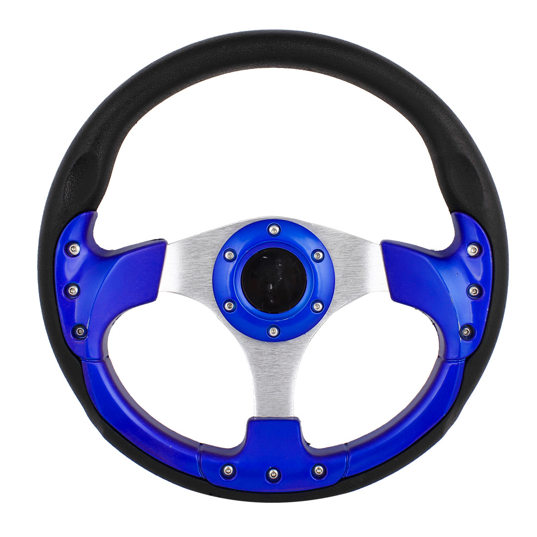 Auto Car Black Blue Plastic Faux Leather Wrapped Steering Wheel 32cm Diameter - image 2 of 2