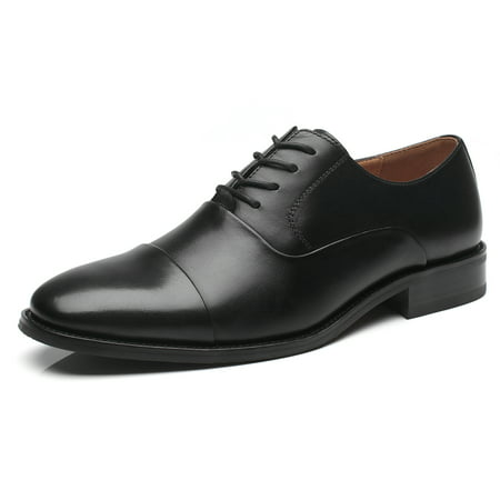 La Milano Mens Leather Updated Classic Cap Toe Oxfords Lace Dress Shoes ()