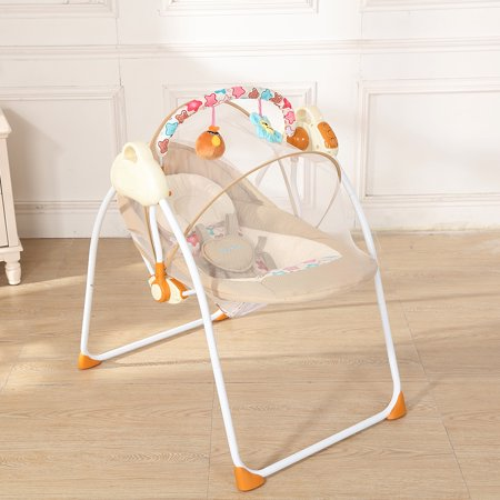 Electric Baby Cradle Swing Rocking Connect Mobile Play Music Chair Sleeping Basket Bed Crib For Newborn Infant (Basket Crib)