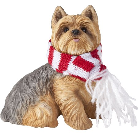 Boston Terrier Dog Ornament - Sandicast Sitting Yorkshire Terrier with Scarf Christmas Dog Ornament