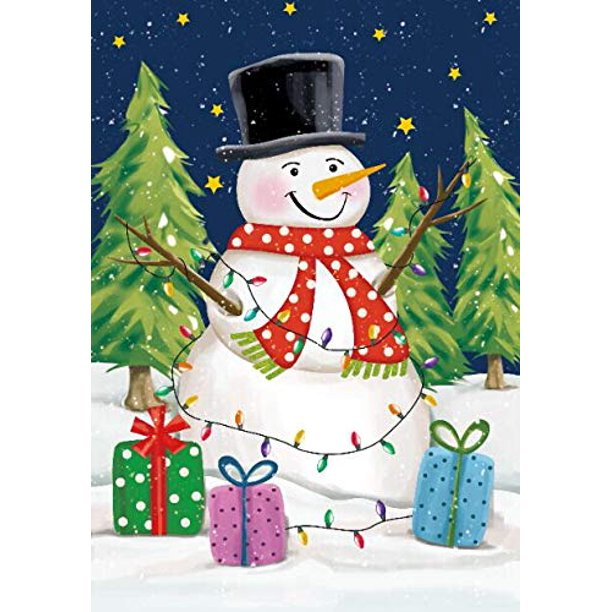 Decorative Christmas House Flag Snowman 28 X 40 White Blue And Green Double Sided Winter Garden Accessories Walmart Com Walmart Com