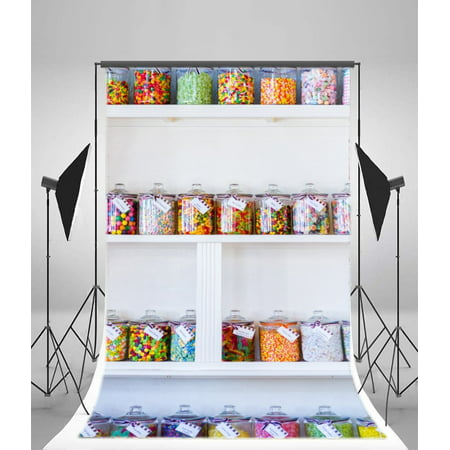 GreenDecor Polyster 5x7ft Photography Backdrop Candy Jars Shop White Display Interior Background Sweet Baby Kids Children Lover Photo Studio - Photograph Display
