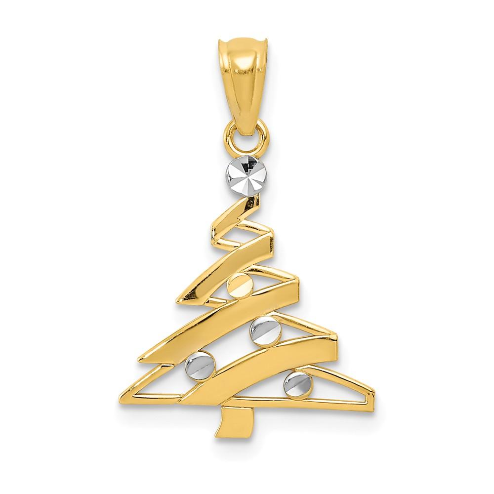 14K Yellow Gold and Rhodium Christmas Tree Pendant