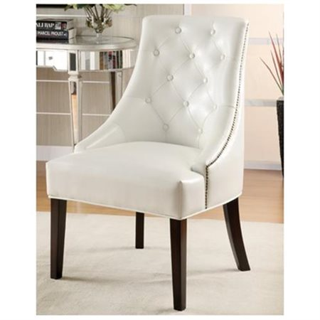 Coaster Bonded Leather Accent Chair, White