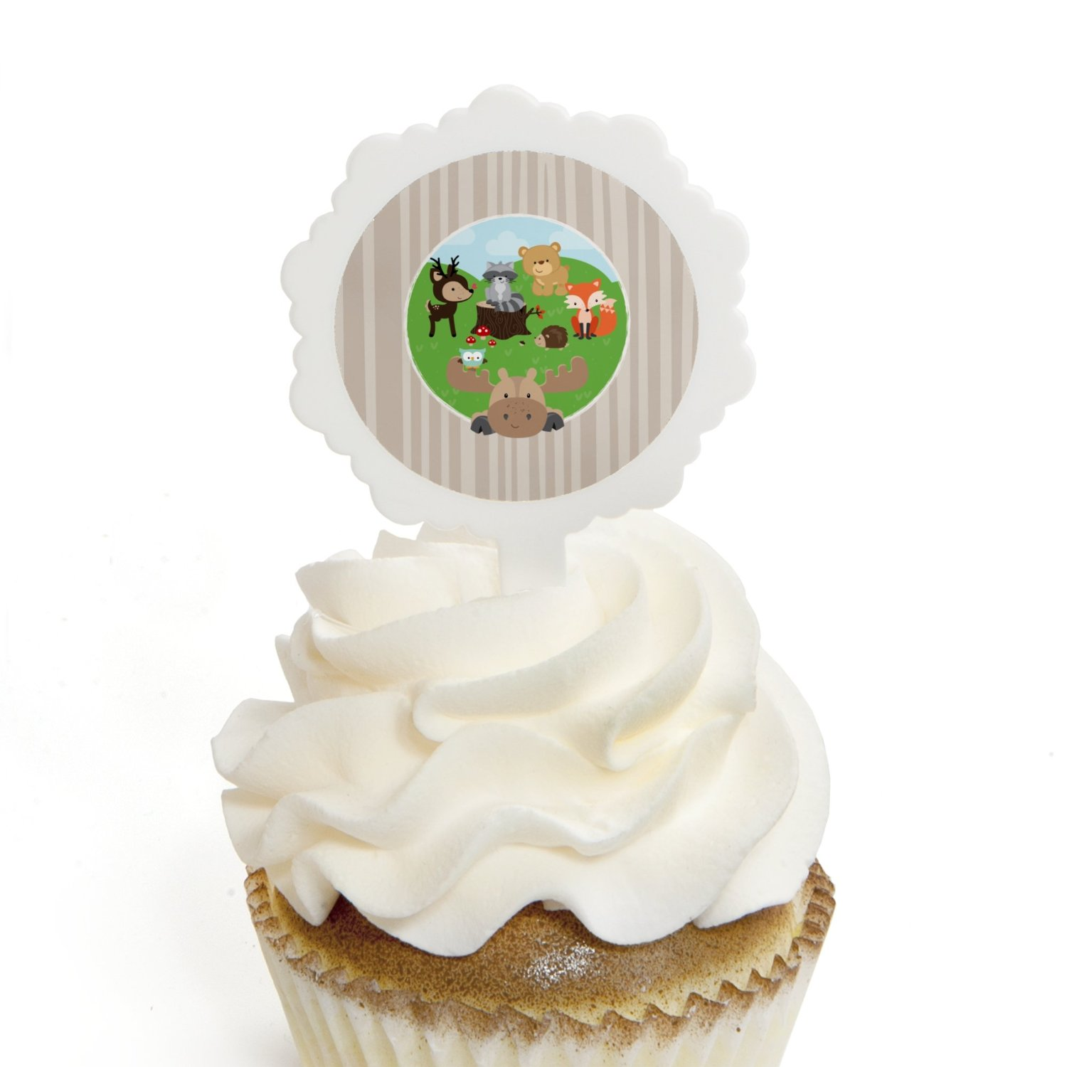 Woodland Creatures - Cupcake Picks with Stickers - Baby Shower or Birthday Party Cupcake Toppers - 12 Count