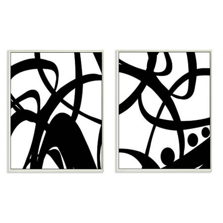 Stupell Industries Black and White Swirls 2 Piece Graphic Wall Plaque Set](Black And White Swirl)