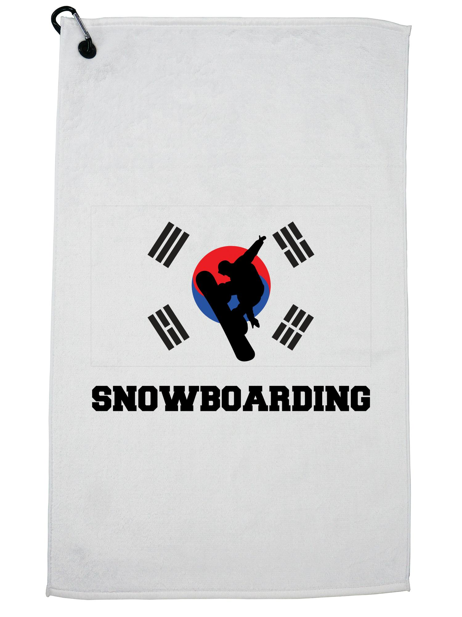 South Korea Olympic Snowboarding Flag Silhouette Golf Towel with Carabiner Clip by Hollywood Thread