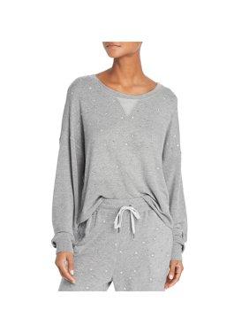 Splendid Womens Slouchy Embellished Sweatshirt Gray S