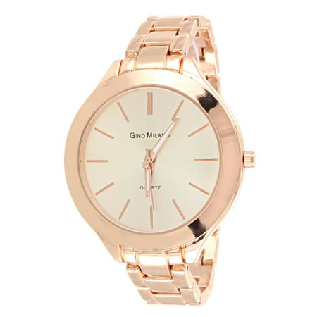 Rose Gold Tone Watch 41mm Stainless Steel Back Womens Gino Milano Ladies (Milano Ladies Fashion Watch)