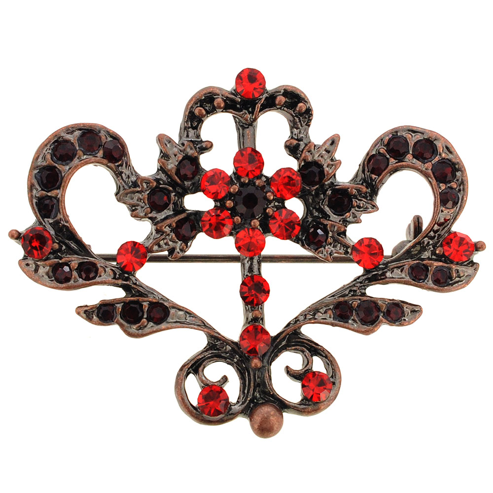 Vintage Style Red Crown Pin Brooch by