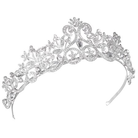 Lux Accessories Silver Tone Princess Bridal Crystal Rhinestone Crown Headbands